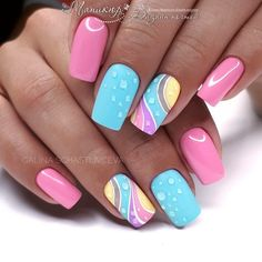 Try some of these designs and give your nails a quick makeover, gallery of unique nail art designs for any season. The best images and creative ideas for your nails. Popular Nail Designs, Best Nail Art Designs, Newest Nail Designs, Bright Nail Designs, Cute Nails, My Nails, Nail Art Design Gallery, Easter Nail Designs, Nail Designs Spring