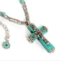 Turquoise Vine Cross Necklace