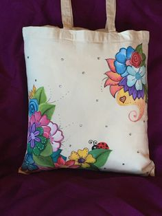 pretty ladybug and flowers design hand painted by myladiesandme