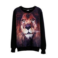 Womens Girls T-shirt 3d Animal Lion Print Long Sleeve Fleece Blouse Tops Tees Comemall http://www.amazon.com/dp/B00NL59JSA/ref=cm_sw_r_pi_dp_48levb1GQBJTY