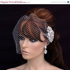 ON SALE  Bridal Comb and Birdcage Veil  Bird by EleganceByKate, $65.00