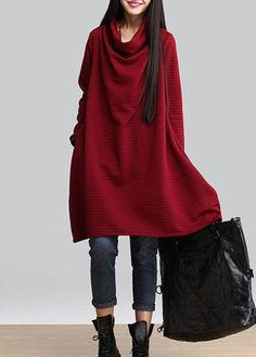Wine Red Long Sleeve Cowl Neck Dress on sale only US$27.32. This may be my fav. Looks like a great Christmas dress. And it has pockets in the side seams!