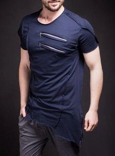 Men Asymmetrical Zippers T-shirt - Navy Blue Short T Shirt, Style Masculin, Denim Fashion, Shirt Outfit, Workout Shirts, Shirt Style, Shirt Designs, Streetwear, Menswear