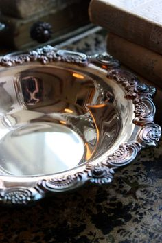Vintage antique silver bowl as a catchall for bedside table or bathroom. Silver Trays, Silver Spoons, Silver Plate, Tarnished Silver, Sterling Silver, Vintage Silver, Antique Silver, Elegant Dining, Candy Dishes