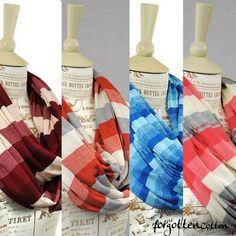 Striped Infinity Scarves Coral Burgundy Orange Blue by ForgottenCotton, $23.00 Fashion Acessories Spring Lightweight Summer