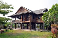 Wood House Design, Village House Design, Village Houses, Modern Tropical House, Hut House, Asian House, Modern Bungalow House, House On Stilts, Hawaii Homes