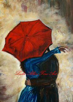 "Couple in Love Couple Kissing Couple Couples Painting Print Romance Romantic Umbrella Rainy ""Hello"". $8.00, via Etsy."