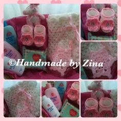#crochet baby hamper. Items can be added or taken out to suit budget. Comes gift-wrapped.  £65 exc. p