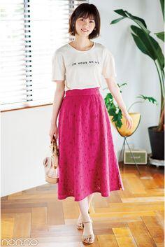 Dress Skirt, Midi Skirt, Japan Fashion, Japanese Girl, Dress Outfits, Dresses, High Waisted Skirt, Asian, Poses