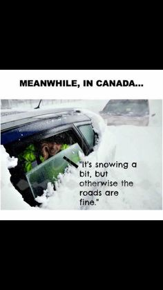 Meanwhile in Canada. It's snowing a bit, but otherwise the roads are FINE, literally today Canadian Memes, Canadian Things, I Am Canadian, Canadian Winter, Canadian Humour, Canada Jokes, Canada Funny, Canada Eh, Canadian Stereotypes