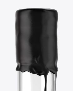 Black Rum Bottle with Wax Top Mockup (Close-Up)
