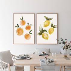 Kitchen Artwork, Kitchen Posters, Kitchen Prints, Wall Art For Kitchen, Modern Kitchen Wall Decor, Fruit Kitchen Decor, Kitchen Gallery Wall, Kitchen Walls, Wall Art Sets