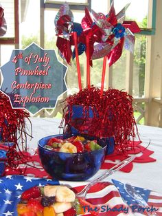 Red, White & Blue Pinwheel Centerpiece - #centerpiece #pinwheel #decorations
