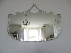 Art deco bevelled mirror frameless chain hung by BlindDogVintage