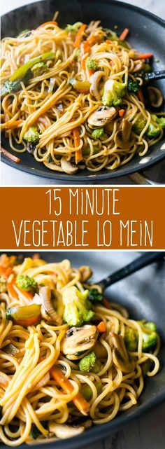 15 Minute Vegetable Lo Mein Meatless full of your favorite veggies and delicious enough to be takeout youll love this super quick and easy weeknight dinner Veggie Recipes, Whole Food Recipes, Cooking Recipes, Healthy Recipes, Cooking Tips, Easy Recipes, Canned Vegetable Recipes, Cooking Games, Free Recipes