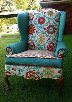 Fun and Happy Wingback  by art_and_deco, via Flickr.   I have these identical chairs, in a similar blue!  I've always wanted to spice them up a bit like this.