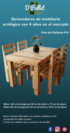 Comedor en terminado natural semi mate, fabricado en pallet europeo