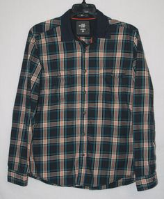 H&M LOGG Fitted Plaid Button Down Shirt Large Long Sleeve Elbow Patch Men's Fashion