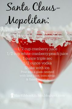 Holiday cosmopolitan signature drink for one serving or for a crowd.  Santa Claus themed drink