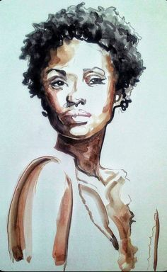 African American Woman Natural Hair Afro II Watercolor Illustration. (((Portrait)))
