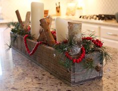 Rustic Wooden Planter Centerpiece Box (rustic home decor, wood box, mantle decor) Rustic Barn Wood 3 Country Christmas, Winter Christmas, Christmas Holidays, Christmas Crafts, Christmas Wood, Planter Box Centerpiece, Planter Boxes, Centrepiece Ideas, Rustic Wooden Box