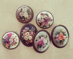 Wonderful Ribbon Embroidery Flowers by Hand Ideas. Enchanting Ribbon Embroidery Flowers by Hand Ideas. Leather Embroidery, Rose Embroidery, Silk Ribbon Embroidery, Embroidery Jewelry, Hand Embroidery Patterns, Fabric Patterns, Embroidery Stitches, Cute Sewing Projects, Sewing Crafts
