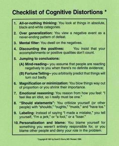 Checklist of Cognitive Distortions