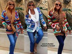 Crochet Coat, Crochet Cardigan Pattern, Crochet Jacket, Crochet Granny, Irish Crochet, Crochet Clothes, Crochet Fashion, Sweater Jacket, Boho