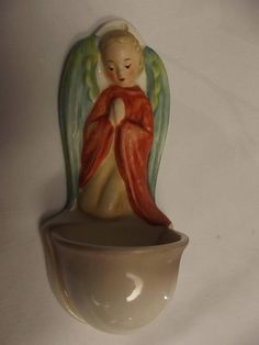 Vintage M. J. Hummel Goebel Holy Water Font in shape of Angel