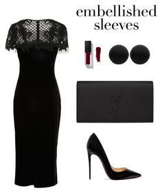 """Untitled #2115"" by meli-g35 ❤ liked on Polyvore featuring Marchesa, Christian Louboutin, Yves Saint Laurent, Thomas Sabo and embellishedsleeves"