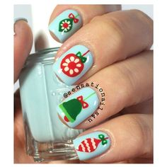 Put the finishing touch on your holiday outfit with an awe inspiring festive Christmas nail art design. From whimsical to chic to sophisticated, your beautifully manicured nails will be the hit of . Cute Christmas Nails, Christmas Nail Art Designs, Holiday Nail Art, Xmas Nails, Winter Nail Art, Winter Nails, Christmas Ornaments, Christmas 2015, Christmas Tree