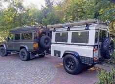 Nice Land Rover combo with trailer Camper Caravan, Camper Trailers, Diy Camper, Campers, Defender Camper, Land Rover Defender 110, Off Road Camping, Truck Camping, Expedition Trailer