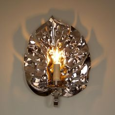 Electrified jungle leaf wall light 38cm high