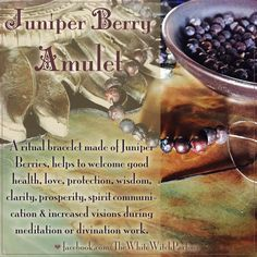 amulet, talisman, juniper berries, magick, spell, wicca, witch, spellcraft, meditation, divination, makickal, witchy, tip, protection, clarity, occult, metaphysical, holistic health, healing, bracelet, herbs, herbal https://www.facebook.com/TheWhiteWitchParlour