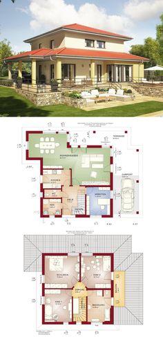 Mediterrane Stadtvilla Haus Evolution 143 V13 von Bien Zenker - Fertighaus Walmdach Grundriss offen mit großer Terrasse Carport
