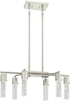 Westinghouse 63298 Cava Six-light Pool Table or Island Pendant in Brushed Nickel with Bubble Glass - Integrated LED - Modern Island Lights & Pool table Lights - Deep Discount Lighting Modern Pool Table Lights, Pool Table Lighting, Modern Lighting, Waterfall Lights, Bathroom Mirror Lights, Bathroom Lighting, Modern Pools, Modern Chandelier, Chandeliers