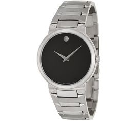 Movado Men's 'Temo' Stainless Steel Swiss Quartz Watch ($409) ❤ liked on Polyvore featuring men's fashion, men's jewelry, men's watches, black, men's blue dial watches, mens sports watches, mens watches jewelry, mens watches and mens sport watches