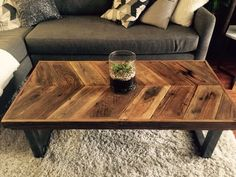 Custom Made Reclaimed Wood Chevron Coffee Table With Tubular Steel Legs