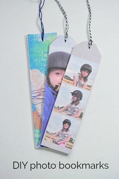 These DIY photo bookmarks are perfect for grandparents.