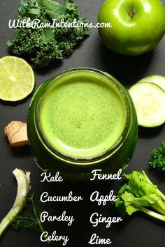 Green Juice / Jus vert pour DETOX : choux, fenouil, concombre, pomme verte, persil, gingembre, céleri et citron vert