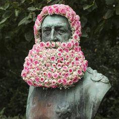 Florist Geoffroy Mottart Installs Guerilla Flower Crowns and Beards atop Public Monuments in Brussels