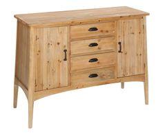 Aparador Malcolm con cuatro cajones, elaborada en madera de abeto. Pequeño aparador vintage realizado en madera de abeto natural con un suave acabado envejecido. Un mueble de un gran cará