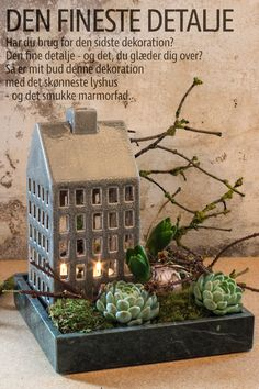 Marmorfad - Grøn - Madam Stoltz - Juledekoration - Hus - Fyrfadslys - Keramik Scandinavian Christmas, Modern Christmas, Christmas 2017, Winter Christmas, Easy Christmas Decorations, Christmas Crafts, Deco Floral, Winter House, Decoration Noel