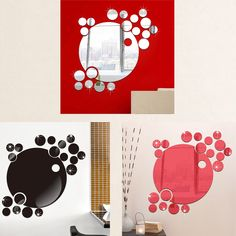 2017 New Arrival Bubble Round Acrylic Wall Sticker Mirror Removable Wall Sticker Background Decoration Art Decals Poster