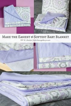 Diy Sewing Projects This super easy and soft baby blanket would make a great gift for anyone with a new baby. Definitely need to make this. - Learn how to make this quick, easy, and super soft baby blanket using fleece fabric and batting Easy Diy Baby Blankets, How To Sew Baby Blanket, Easy Baby Blanket, Fleece Baby Blankets, Diy Receiving Blankets, Homemade Blankets, Minky Blanket, Baby Sewing Projects, Sewing Projects For Beginners