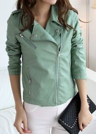 Mint leather jacket...this is just too cute! I need to get one