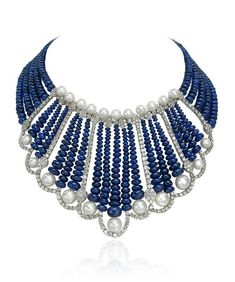 Andreoli Fine Jewellery ~ Royalty Sapphire, Diamond and Pearl Necklace from the Royalty Collection