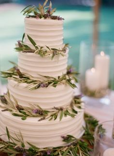 cake decorated with sprigs - THIS is what I want the cake to look like (maybe only 3 layers) and our topper