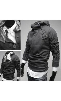 Truro: Mens true to size long sleeve unique hoodie with diagonal side button design available in M-XL