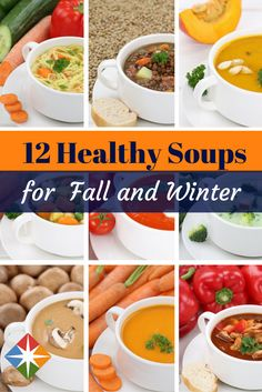 Fall is upon us--time to get out the crock pot or stock pot and fire up these 12 healthy soups. So delicious and nutritious--you'll want to eat them again and again for lunch or dinner--and your family will too!